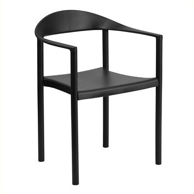 Bowery Hill Plastic Cafe Stack Stacking Chair in Black ()
