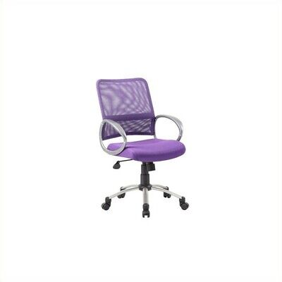 Boss Office Products Mesh Back With Pewter Task Office Chair In Purple
