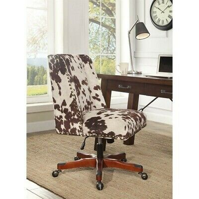 Linon Draper Wood Upholstered Office Chair In Brown Cow Print