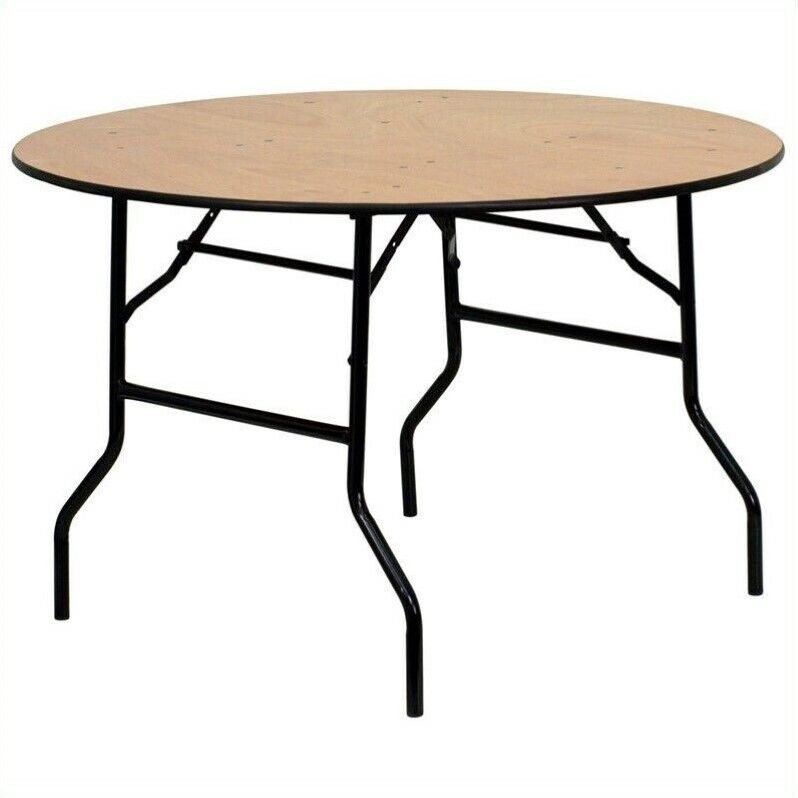 """Flash Furniture 72"""" Round Wood Top Folding Banquet Table in Natural"""