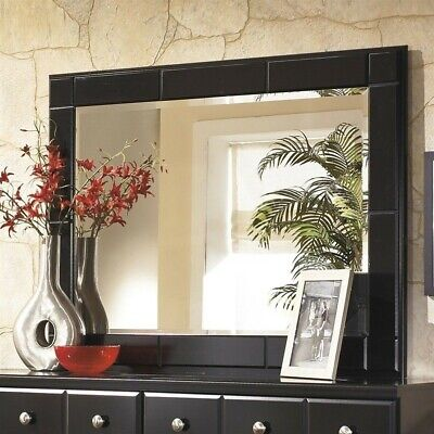 Signature Design by Ashley Furniture Shay Bedroom Mirror in Almost - Distressed Black Bedroom Furniture