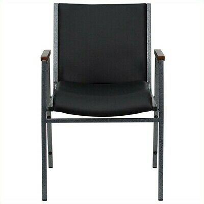 Vinyl Stacking Chair - Bowery Hill Upholstered Stacking Chair in Black Vinyl