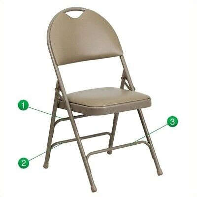 Flash Furniture Hercules Faux Leather Padded Metal Folding Chair In Beige
