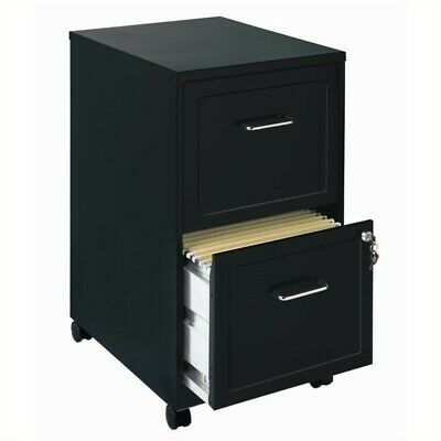 Space Solutions 18 2 Drawer Mobile Smart Vertical File Cabinet Black