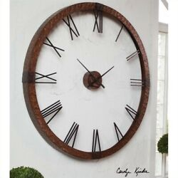 Uttermost Amarion 60 Copper Wall Clock in Hammered Copper Sheeting