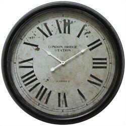 Yosemite Circular Iron Wall Clock with Black Distressed Iron Frame