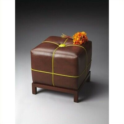 Butler Specialty Modern Expressions Leather Ottoman in Medium Brown