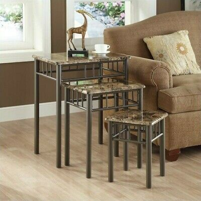 Monarch 3 Piece Metal Nesting Tables in Cappuccino Marble and Bronze Cappuccino Nesting Table