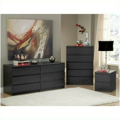Tvilum Scottsdale 5 Drawer Chest in Black Woodgrain Transiti