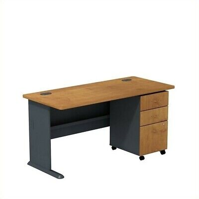 "Bush Business Series A 60"" Desk and File Cabinet in Natural Cherry"
