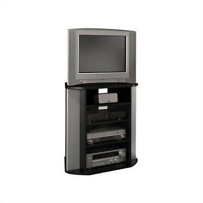 Bush Furniture Visions Tall Corner TV Stand in Black and Metallic Bush Furniture Metal Tv Stand