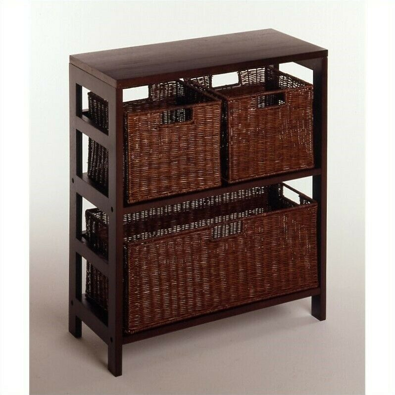 Winsome 4 Piece Shelf and Basket Set in Espresso Beechwood