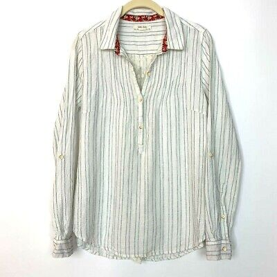 Isabella Sinclair Anthropologie Size Small Altay Popover Shirt Striped Lace Top image