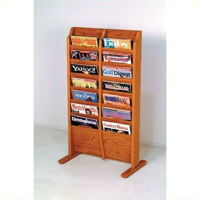Pemberly Row 14 Pocket Magazine Rack in Medium Oak