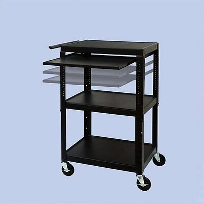 Entertainment Center FSC Adjustable Cart With Front/Back Pull Out Shelf TV