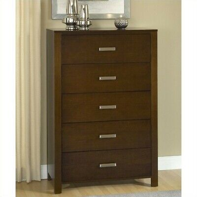 Modus Furniture Riva Five Drawer Chest in Chocolate Brown Brown Five Drawer Chest