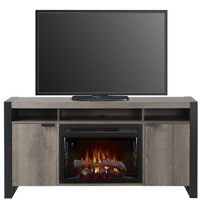 Bowery Hill Electric Fireplace TV Stand with Logset in Steeltown ()