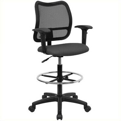 Flash Furniture Mid Back Mesh Drafting Chair In Gray Fabric