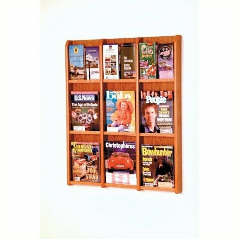 Wooden Mallet 9 Magazine and 18 Brochure Oak and Acrylic Wall Display in Medi...