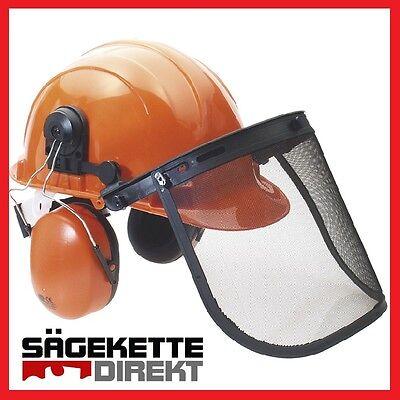 Forsthelm Kopfschutz Forstschutzhelm Waldarbeiter Helmset ORANGE Einstelldrehrad