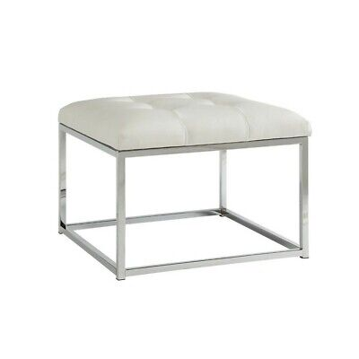 Coaster Faux Leather Tufted Square Ottoman in White Square Chrome Footrest