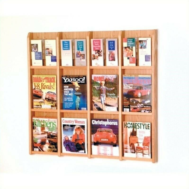 Wooden Mallet Literature Display with Optional Floor Stand in Light Oak