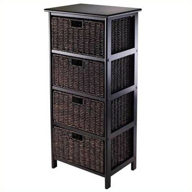 Winsome Omaha Storage Rack with 4 Foldable Baskets in Black