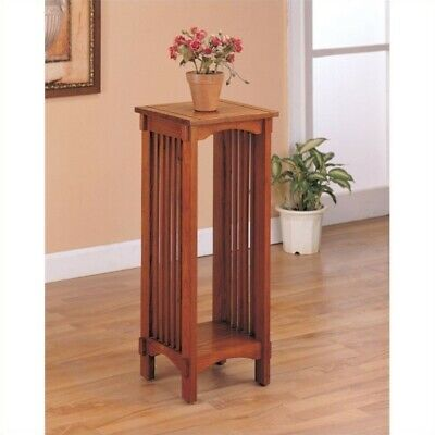 Coaster Traditional Mission Style Plant Stand in Solid Oak ()