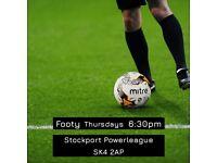 6 a side Football, Stockport, Thursdays 6:30pm (footy 5 7 game match team ashton hyde manchester)