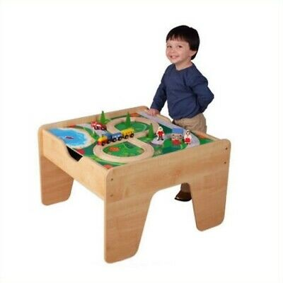 KidKraft 2-in-1 Activity Table with Lego and Train Set in Natural