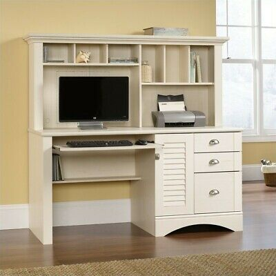 Computer Desk with Hutch Antiqued White Enclosed File Storag