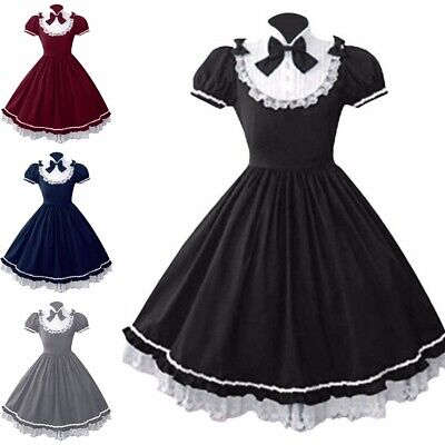 Women Fashion Lolita Gothic Dress Vintage Bow Lace Short Sleeve Princess Dress