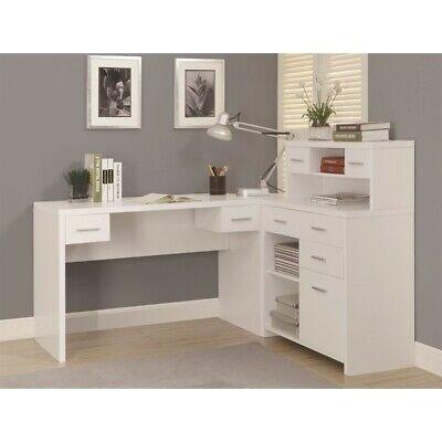 "Monarch Hollow-Core ""L"" Shaped Home Office Desk, White"
