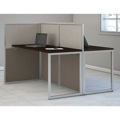 Bush Business Easy Office Wood Computer Desk for Two in Mocha Cherry ()