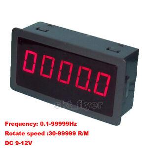 DIGITAL Red 5 LED Frequency Tachometer Speed Converter Motor Car Meter DC 7-12V