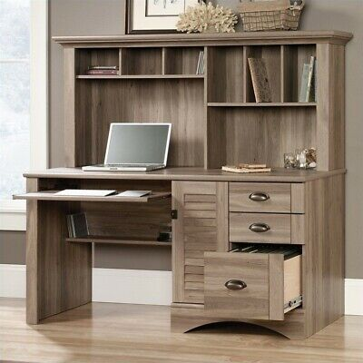 Sauder Harbor View Computer Desk with Hutch in Salt Oak