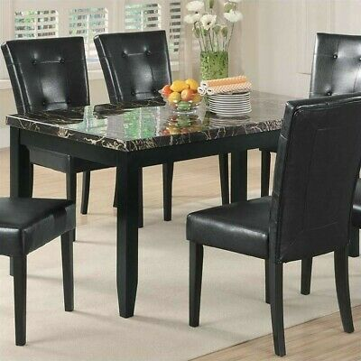Coaster Anisa Faux Stone Top Dining Table in Black