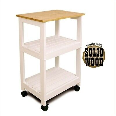 - Catskill Microwave/Utility Butcher Block Kitchen Cart in White