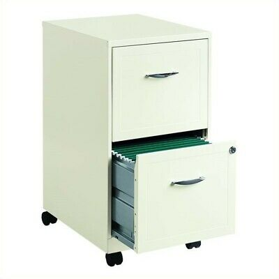 Space Solutions 18 2 Drawer Mobile Smart Vertical File Cabinet Pearl White