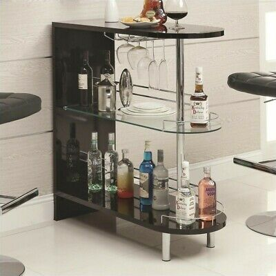 Coaster Contemporary Home Bar Table with Glass Shelf in Black