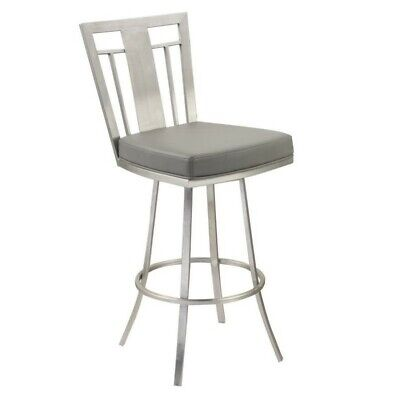 Dining Room Collection Bar Stool - Hawthorne Collections Faux Leather Swivel Counter Stool in Gray