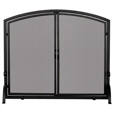 Uniflame Single Large Panel Black Wrought Iron Screen with Doors