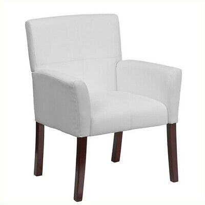 Flash Furniture Leather Executive Side Guest Chair In White And Mahogany
