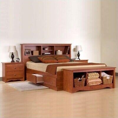 Prepac Monterey Cherry Queen Wood Platform Storage Bed 3 Pie