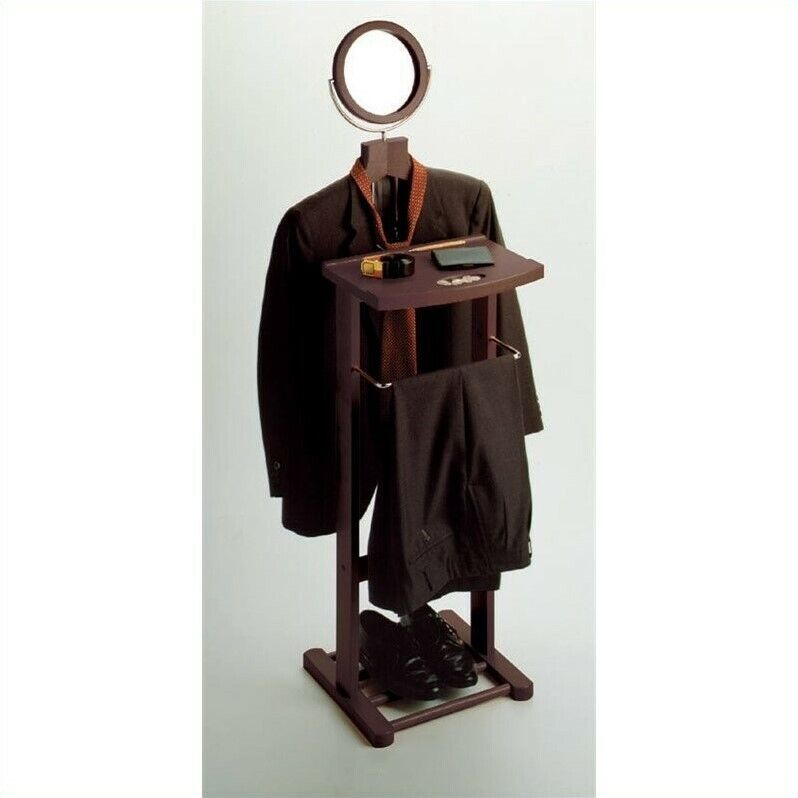 Winsome Valet Stand with Mirror in Espresso Beechwood