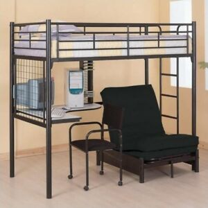 Black Youth Loft Bed with Desk and Lounge Chair