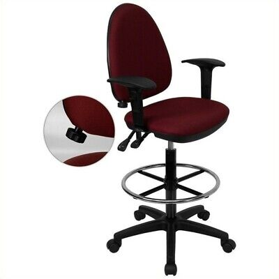 Flash Furniture Mid-back Drafting Chair With Arms In Burgundy