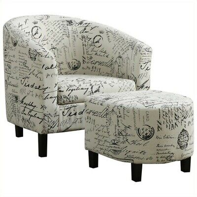 Monarch Accent Chair & Ottoman White