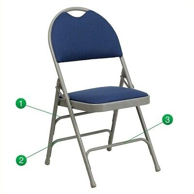 Flash Furniture Hercules Padded Metal Folding Chair In Navy And Gray