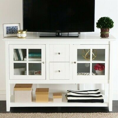 Walker Edison Wood 52 Table TV Stand Console White